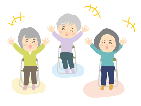 Elderly women group sitting and laughing doing yoga