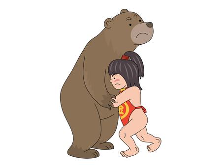 Kim Taro who takes sumo with a bear