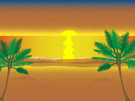Illustration of the sunset beach