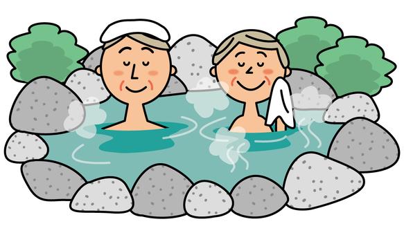 露天温泉に入るシニア夫婦