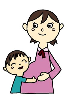Pregnant woman and a boy