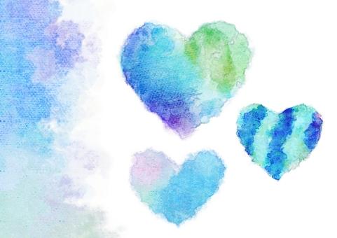 藍色漸變心臟顏色水彩畫集