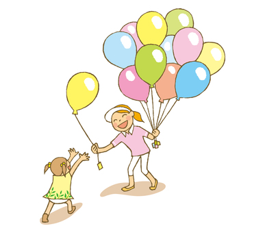 People (balloon distribution and girls)