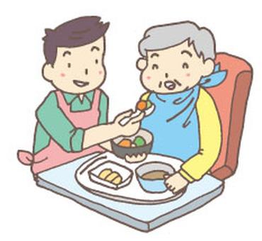 식사의 개호를하는 남성