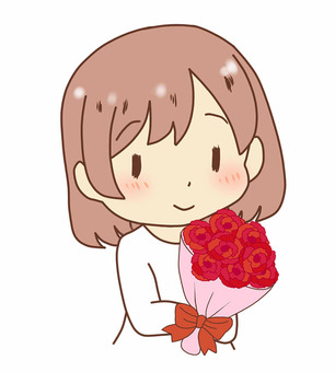 A woman giving a bouquet