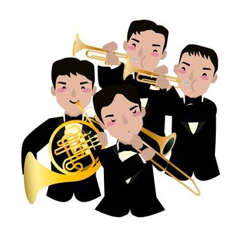 Orchestra, 4 person formation, brass instrument