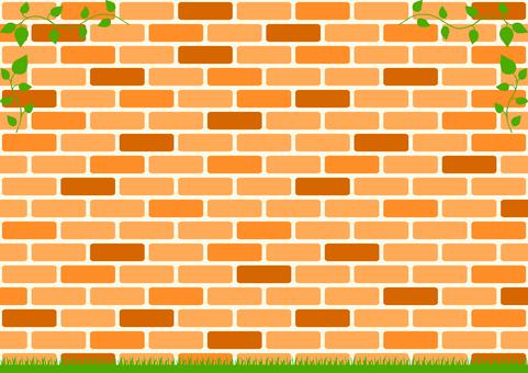 Leaf frame brick background