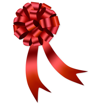 Present and ribbon red ribbon