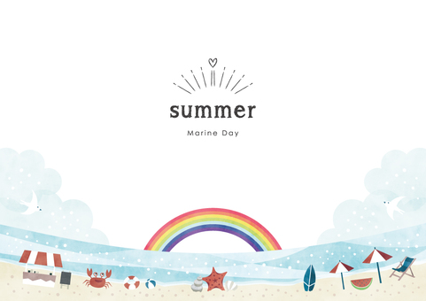 Summer background frame 020 sea sandy beach watercolor