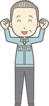Middle-aged man work clothes - Waku Waku - whole body