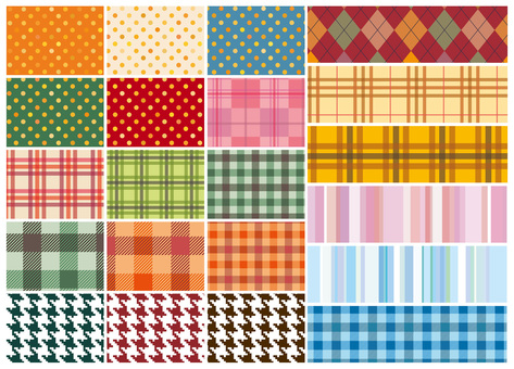 Pattern set check pattern autumn polka dot pattern material