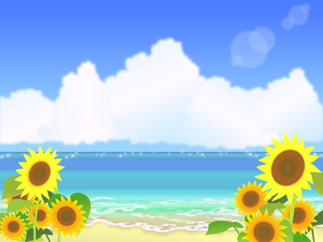 Summer sea and sunflower