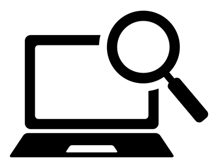 PC and magnifying glass icon
