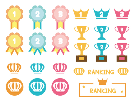 Colorful cute ranking icon set