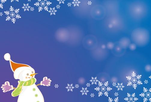 Card snowman and snow