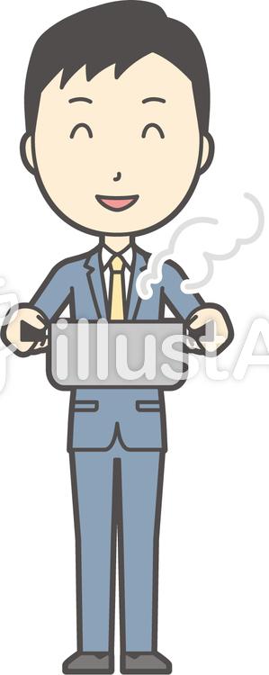 スーツ男性ネイビー-327-全身のイラスト