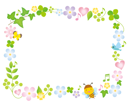 Fun decoration frame of spring flowers