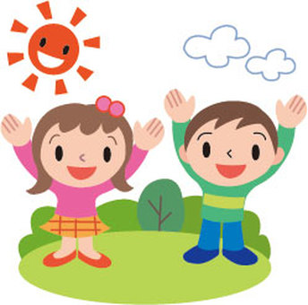 Children and sun and green