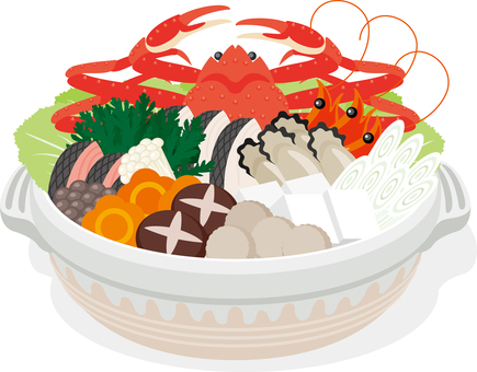 Crab cook pot dish pan hotpot cooking in winter