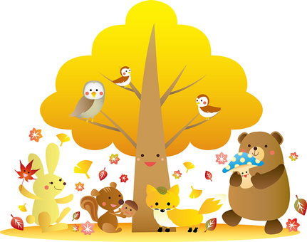 Animal's happy illustration on autumn tree