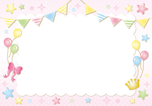 Flag star water polka dot frame (pink)