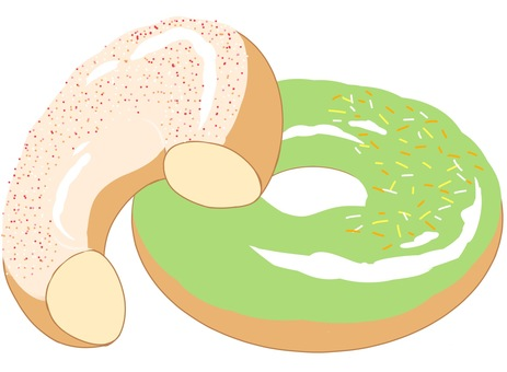 White chocolate donuts and green tea flavored donuts