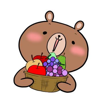 과일 바구니와 곰 차