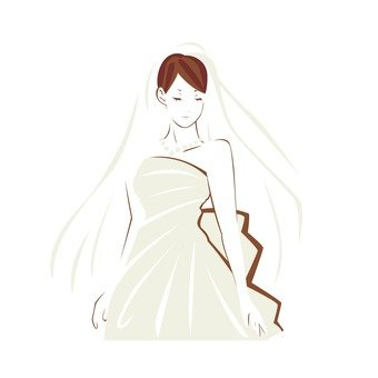Women in a wedding dress (single color)