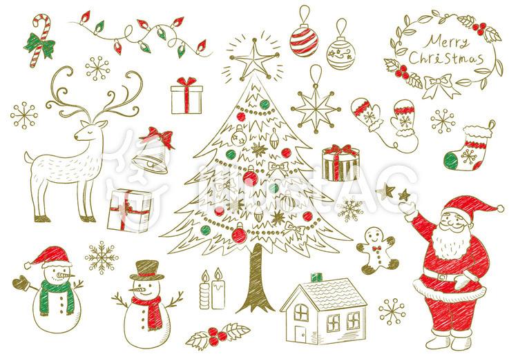 クリスマス手書き風素材1イラスト No 613622無料イラストなら