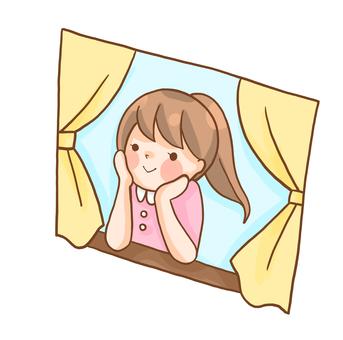 Girl on the window side