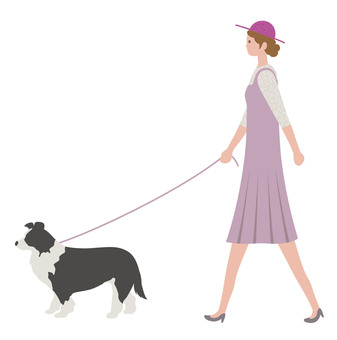 Woman walking a dog
