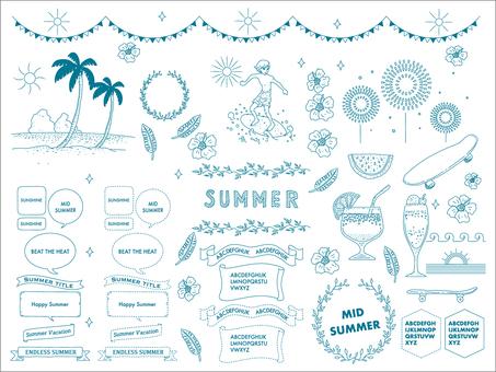 Set of summer images and frames Blue