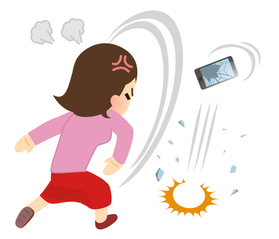 Illustration of a woman breaking a smartphone