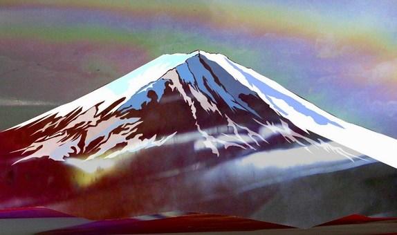 Fuji severe winter before dawn
