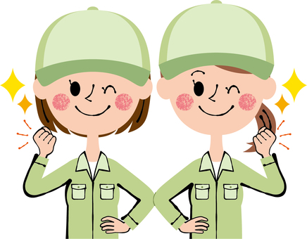 Guts pose worker 2 women hat green wink