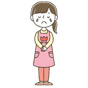 Crying female nurse / cute / hand drawn / whole body