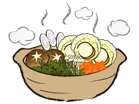 Japanese style seafood pot Tamba cooking pot