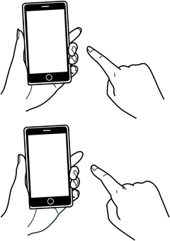 Smartphone tap hand drawing