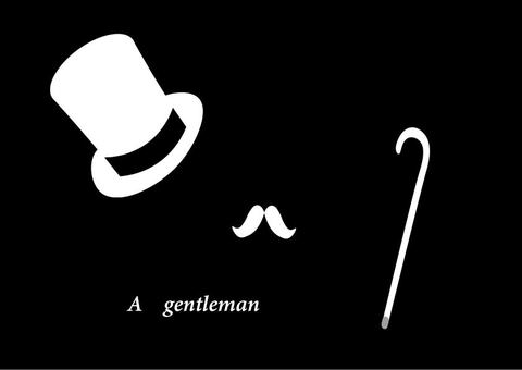 Top hat, cane and beard