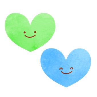 Watercolor style heart set 2