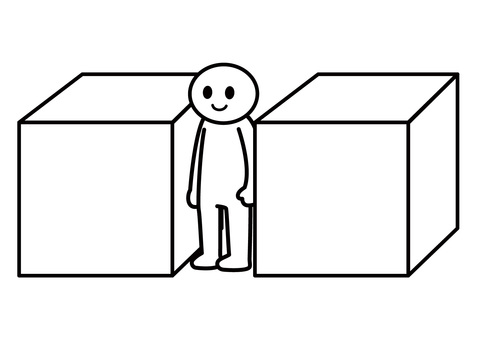 Stickman-sandwiched between boxes