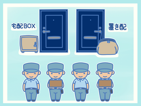 Delivery staff and delivery box, delivery set