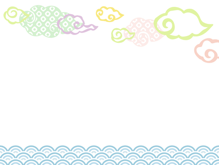 Japanese style cloud and Qinghai wave frame