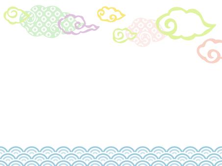 和風の雲と青海波のフレーム