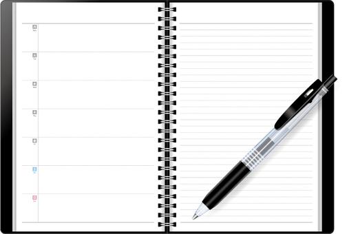 Pocketbook (black) and ballpoint pen