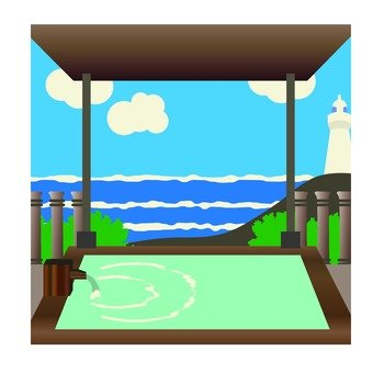 Outdoor bath with sea view
