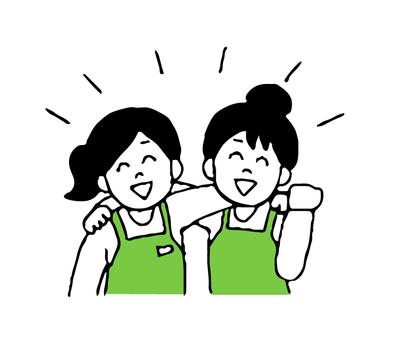 어깨동무 앞치마 차림의 여성 (단순)