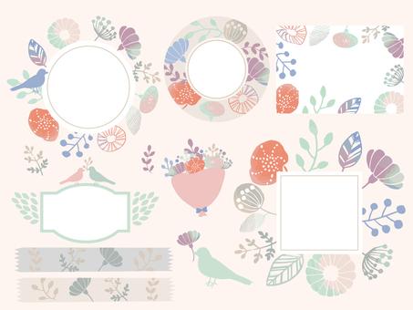 手繪花卉框架集