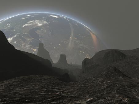 母星を望む枯れた惑星の地表