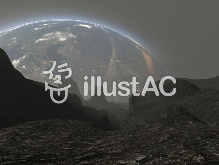 母星を望む枯れた惑星の地表のイラスト